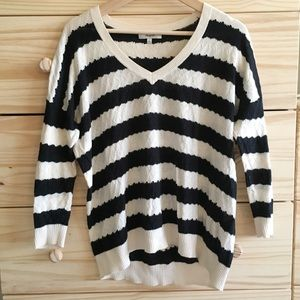 Madewell V-Neck Striped Cableknit Sweater S