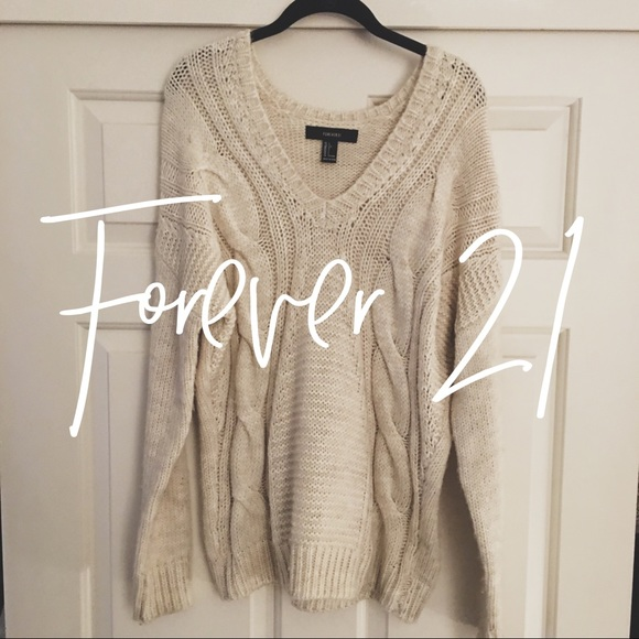 Forever 21 Sweaters Cream Cable Knit Sweater Poshmark
