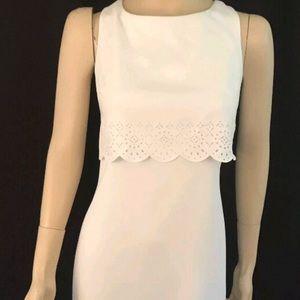 NWT  SLEEVELESS WHITE LASERCUT TIER SHEATH DRESS 6