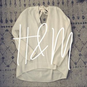 H&M / cream tie sweater