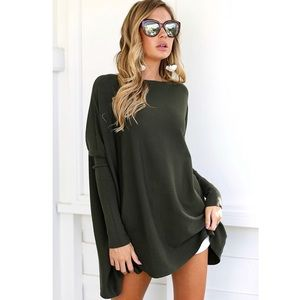 'Brexley' Olive Green Batwing Sleeve Top