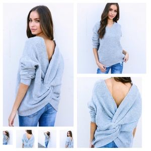 Don't Get It Twisted Open Back/Front Twist Sweater