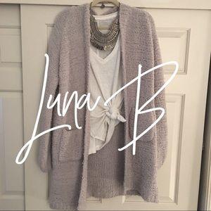 Luna B / gray purple / chunky cardigan