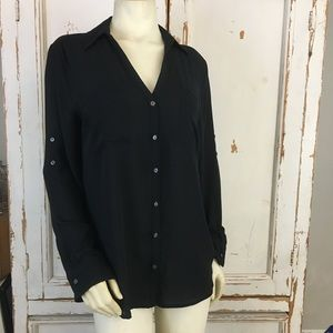 Black express button up sheer long sleeve top