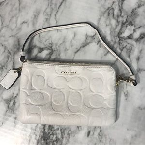 Coach Zip Wristlet in Debossed White Leather