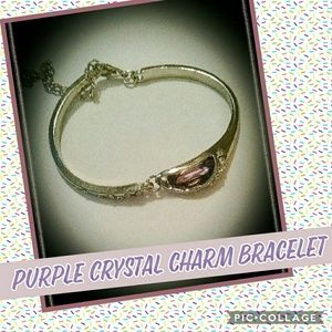 Purple Silver plated bangle Bracelet