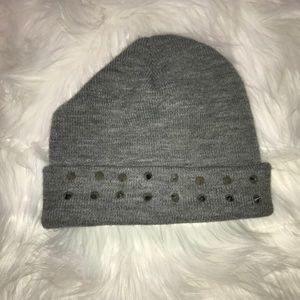 Basic gray studded beanie