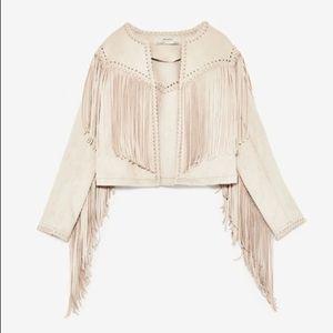 NWT Zara Women's Faux Suede Frill Jacket, M