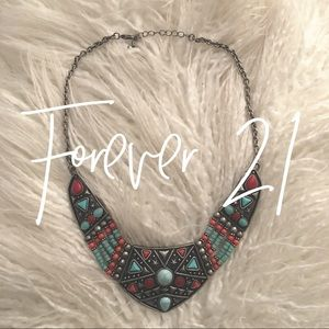 Forever 21 / turquoise + coral necklace