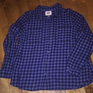 Navy & blue flannel women's Old Navy button shirt