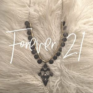 Forever 21 / tribal necklace / gold + silver