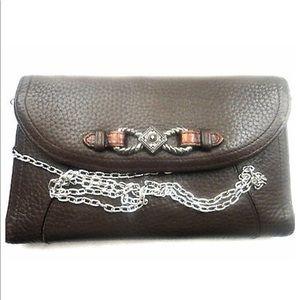 Brighton tri-fold Wallet Clutch Leather Brown Bag