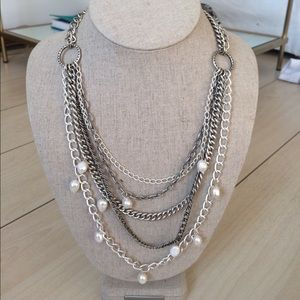 Stella and Dot Avery Pearl and Chain Necklace
