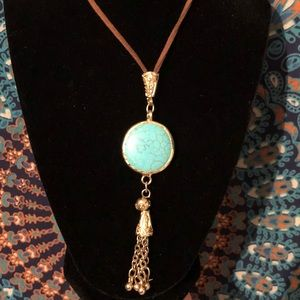 Long leather and turquoise necklace