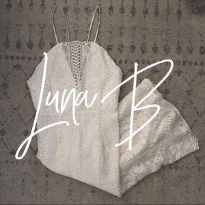 NWOT / Luna B / white lace midi dress
