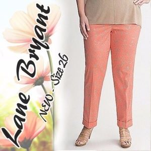 LANE BRYANT Pants Ankle Sateen Cuffed Daisy Coral