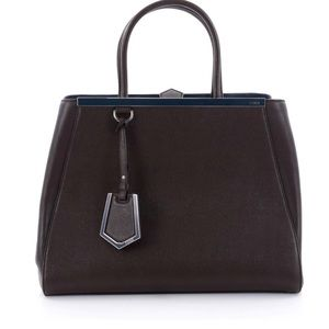 FENDI 2Jours Handbag Leather Medium Cafe Nior