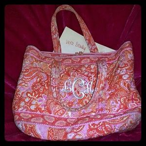 Vera Bradley tote with L C A embroidered