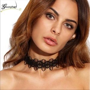 New Black Flower Lace Sexy Chocker Necklace