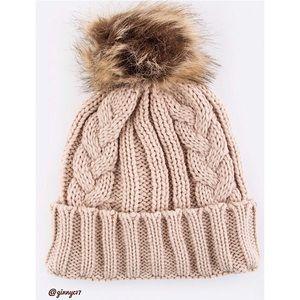 Cream Cable Knit Faux Fur Pom-Pom Beanie