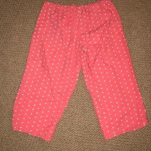 Pajama Capri Pants Red with Stars