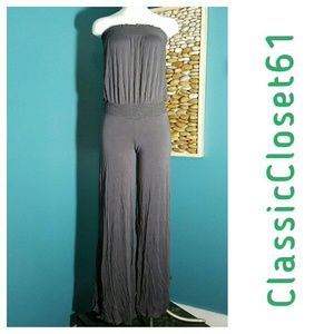 Grey strapless jumpsuit