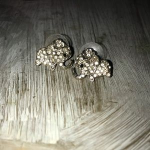 diamond elephant earrings