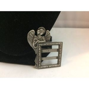 VTG JJ Jonette Pewter Angel Picture Frame Brooch