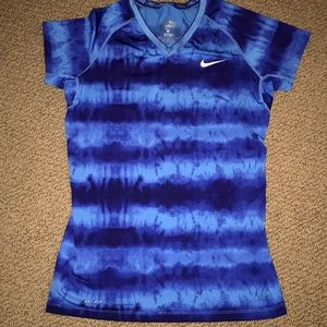 Nike Pro Combat Dri-Fit Fitted Blue Shirt