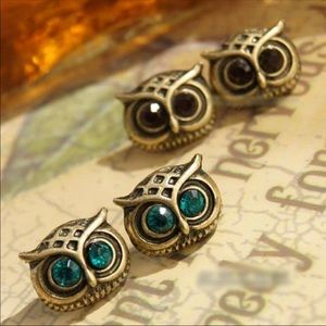 New Small Green Eyed Owl Stud Earrings Jewelry