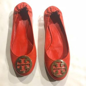 Tory Burch Orange Gold Designer Logo Flats 9