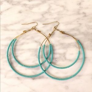 Gold Hoop Earrings with Turquoise Beading
