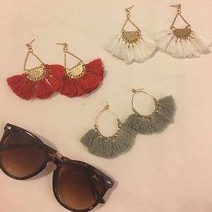 Lot of 3 gorgeous tassel earrings lot, bohemian