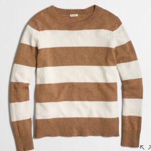 J. Crew Tan & White Stripe Sweater