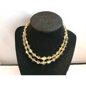 Vtg. Swarovski Smoky Ab Lead Glass Necklace