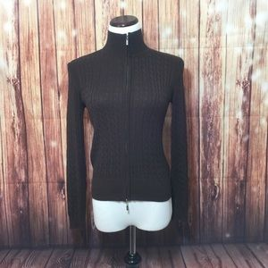 Brown Cable Knit Zip Sweater