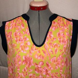 Collective Concepts Tops - Neon boxy floral blouse