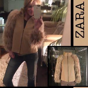 ZARA BASIC FAUX FUR Sleeve jacket