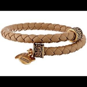 ALEX AND ANI braided brown leather wrap bracelet