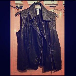 Mural faux leather vest