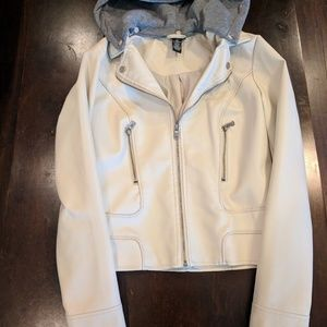 Rue 21 cream faux leather jacket