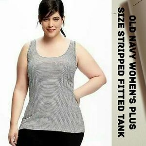 🆕 Old Navy women's plus stripped fitted knit tank