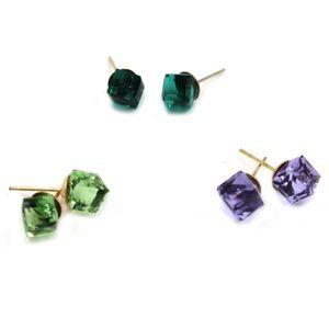 Square crystal stud earrings set
