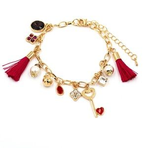heart-shaped key and tassel golden bracelet