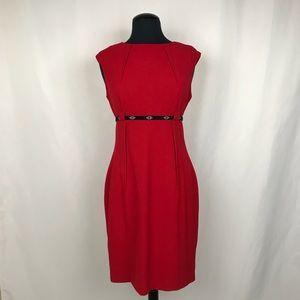 Calvin Klein • Red Cap Sleeve Sheath Dress