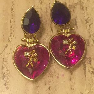EARRINGS ELEGANT Purple Dangle with Gold Accents.