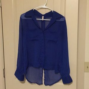 Xhilaration Royal Blue Chiffon Hi-Low Shirt