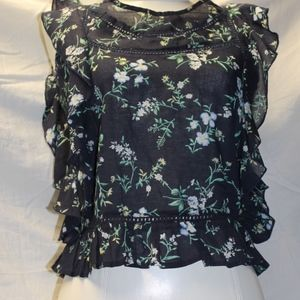 Scoop Back Floral Blouse Navy Blue