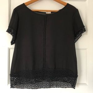 Black Blouse with Crochet Inspired Pattern
