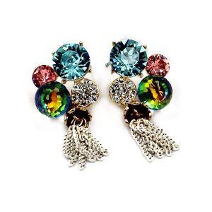 Lovely color gems crystal earrings